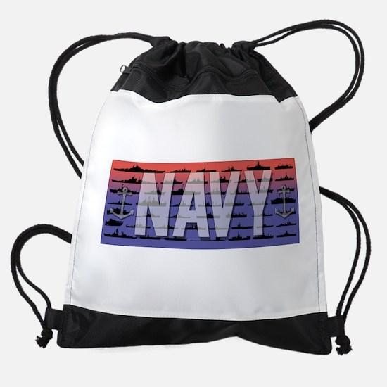 Navy Ships White Drawstring Bag