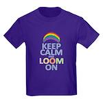Keep Calm and Loom On Kids Dark T-Shirt