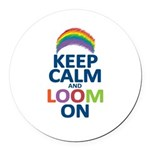Keep Calm and Loom On Round Car Magnet