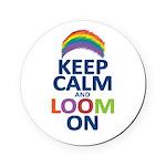 Keep Calm and Loom On Round Coaster