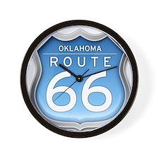 Oklahoma Route 66 - Blue Wall Clock
