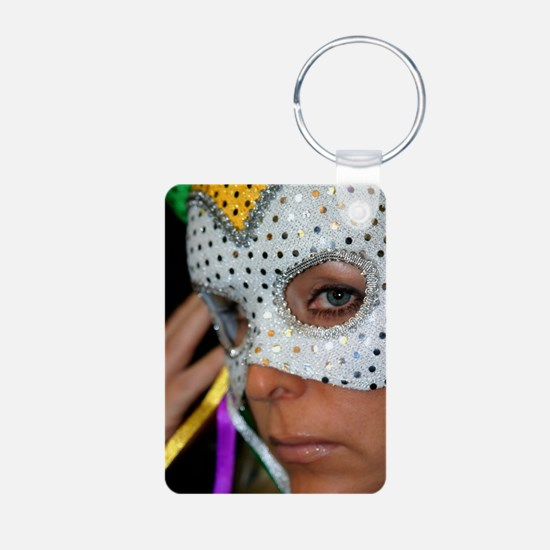 Blond Woman With Mask Keychains