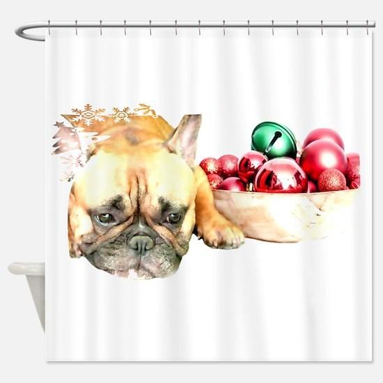 Christmas French Bulldog Shower Curtain