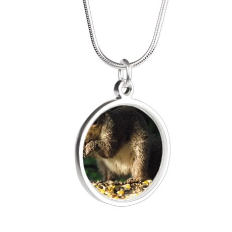 Squirrel eating Silver Round Necklace