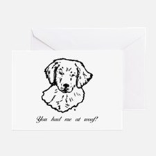 You had me at woof (golden) Greeting Cards (Packag
