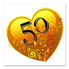 "50th Golden Anniversary Square Car Magnet 3"" x 3"""