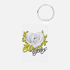 50 Years White Rose Keychains
