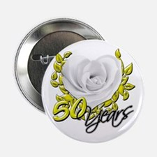 """50 Years White Rose 2.25"""" Button"""