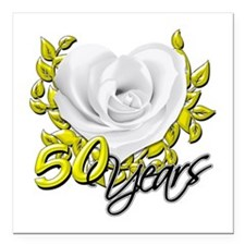 "50 Years White Rose Square Car Magnet 3"" x 3"""