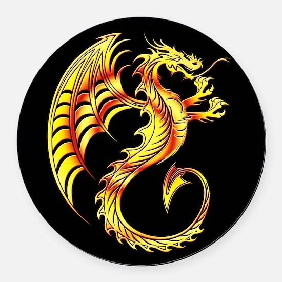 Golden Dragon Symbol Round Car Magnet