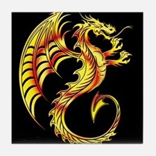 Golden Dragon Symbol Tile Coaster