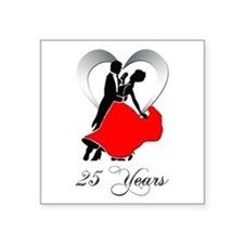 "25th Wedding Anniversary Square Sticker 3"" x 3"""