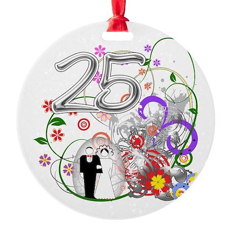 25th Silver Anniversary Round Ornament