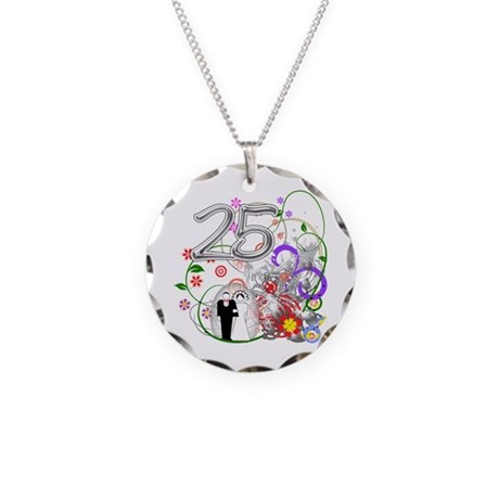 25th Silver Anniversary Necklace Circle Charm
