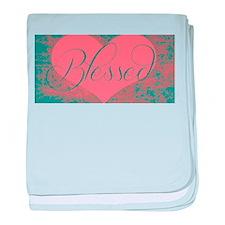 blessed heart dark pink baby blanket