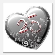 "25th Anniversary Square Car Magnet 3"" x 3"""