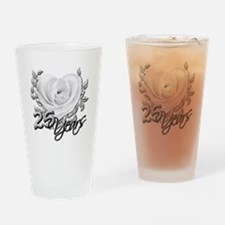 Silver Anniversary Rose Drinking Glass