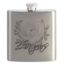 Silver Anniversary Rose Flask