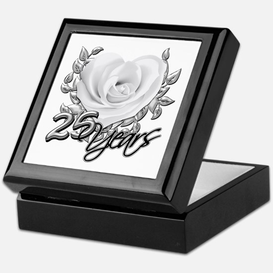 Silver Anniversary Rose Keepsake Box