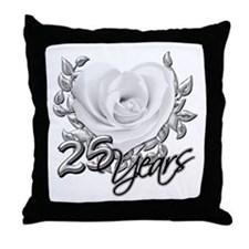 Silver Anniversary Rose Throw Pillow