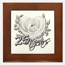 Silver Anniversary Rose Framed Tile