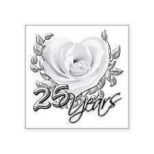 """Silver Anniversary Rose Square Sticker 3"""" x 3"""""""