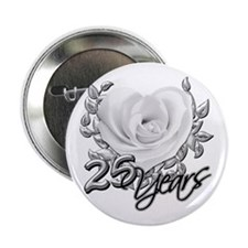 "Silver Anniversary Rose 2.25"" Button"