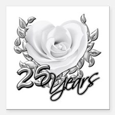 "Silver Anniversary Rose Square Car Magnet 3"" x 3"""