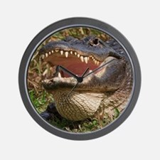 alligator with teeth showing Wall Clock