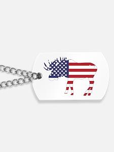 US Flag Moose Dog Tags