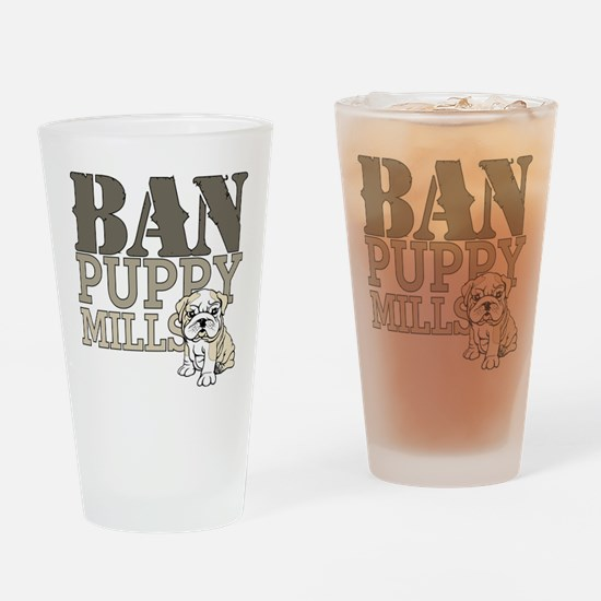 Ban Puppy Mills Drinking Glass