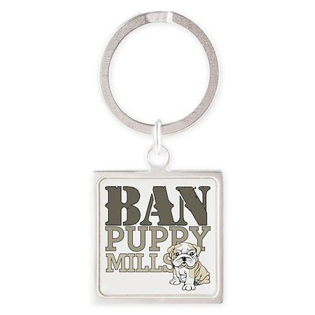 Ban Puppy Mills Square Keychain