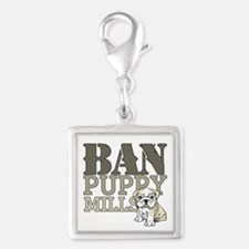 Ban Puppy Mills Silver Square Charm