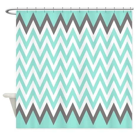 Turquoise And Grey Chevrons Shower Curtain Shower By Laughoutlouddesigns1