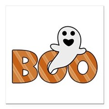 "BOO Spooky Halloween Casper Square Car Magnet 3"" x"