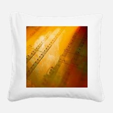sheet music watercolor Square Canvas Pillow