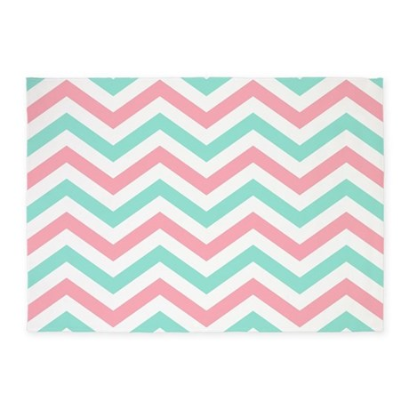 Turquoise And Pink Chevrons 5 By7 Rug ...