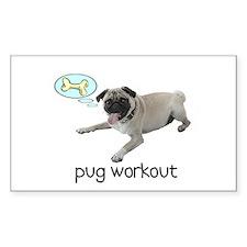 Pug Workout Rectangle Decal