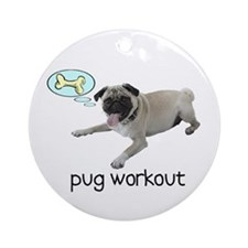 Pug Workout Ornament (Round)