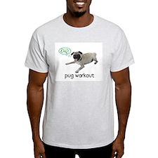 Pug Workout Ash Grey T-Shirt