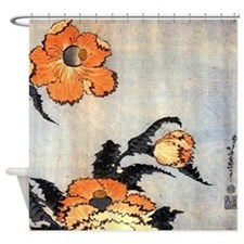 Poppies by Hokusai Shower Curtain