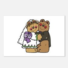 Country Style Bride and Groom Bears Postcards (Pac