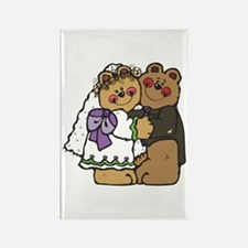 Country Style Bride and Groom Bears Rectangle Magn