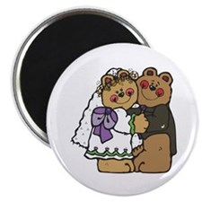 "Country Style Bride and Groom Bears 2.25"" Magnet ("