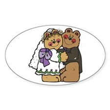Country Style Bride and Groom Bears Oval Decal