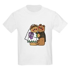 Country Style Bride and Groom Bears Kids T-Shirt
