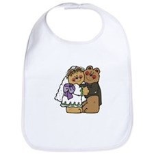 Country Style Bride and Groom Bears Bib