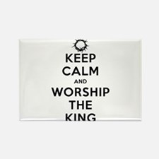 Keep Calm & Worship The King Rectangle Magnet