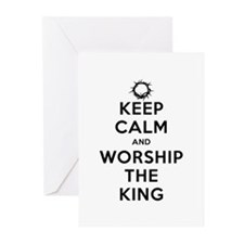 Keep Calm & Worship The King Greeting Cards (Pk of