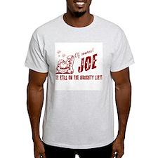Naughty List Joe Christmas Ash Grey T-Shirt